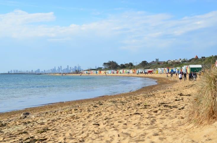 La fameuse baie avec au loin les buildings de Melbourne