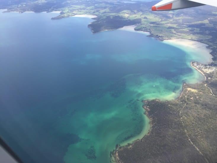 La vue depuis l'avion lorsque nous approchons de Hobart 🤩