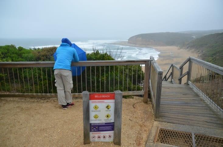 La fameuse plage de Bells Beach... avec un temps plus que maussade !