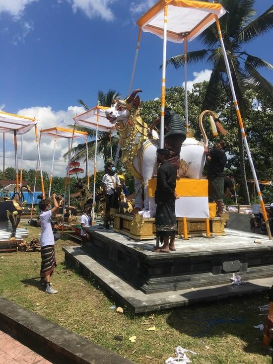 Les sculptures «animales» faites en bois, tissu et dorures sont fabriquées en un mois …