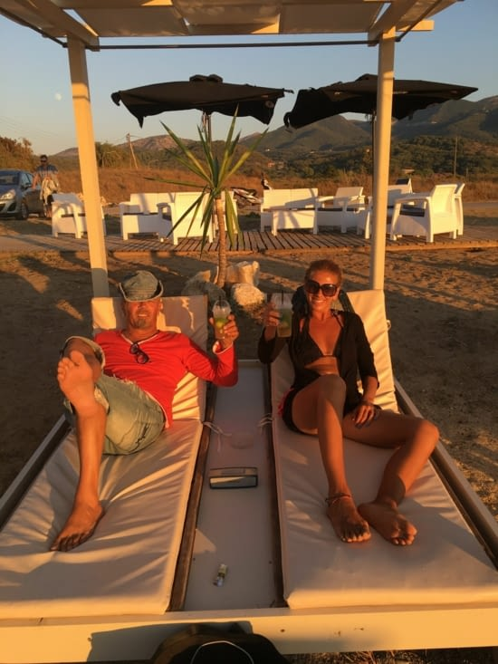With Katerina : sunset, sunbeds and mojitos .... What else ?