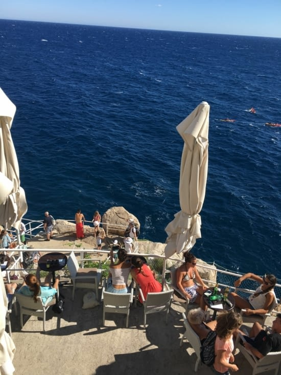 """A """"lounge"""" bar, purched on a cliff near Dubrovnik citadel"""
