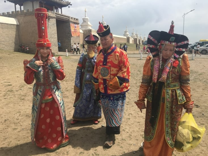 The traditional Mongolian outfits