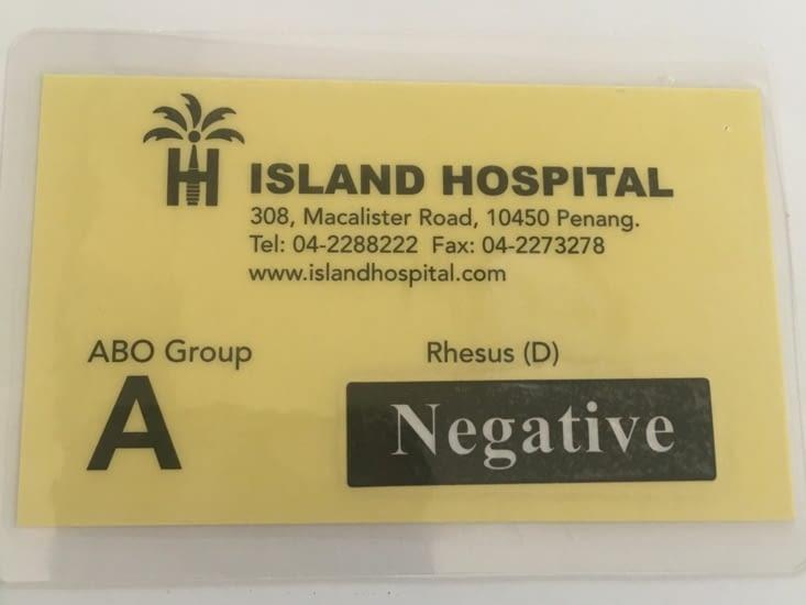 Séjour à l'hopital de Penang pour un Check Up complet