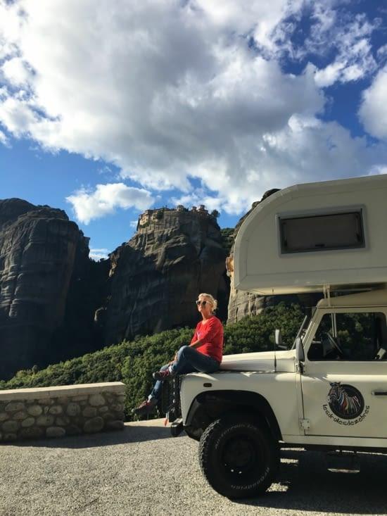 Arrivée sur les Meteores (Monasteres sur les rochers) ..... Grand moment de silence quand on arrive tellement c'est impressionnant (10 monasteres sur des pics de rochers pour prevenir des attaques Turcs)