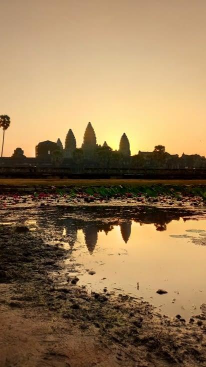Lever du soleil sur le temple angkor wat