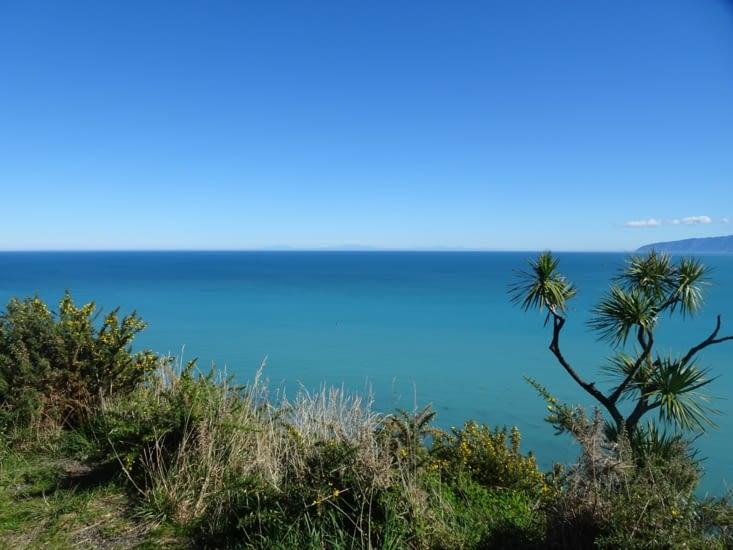 Vue sur l'océan et sur l'île du sud de la Nouvelle Zélande