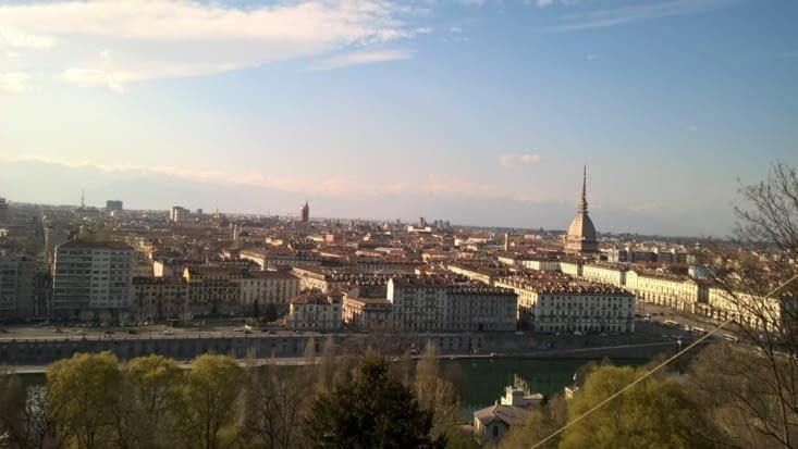 La ville de Torino vu de haut, après quelques kms dans les pattes...