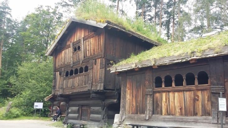 Musée de l'artisanat. Ici les toits végétaux, marque de fabrique des Norvégiens.