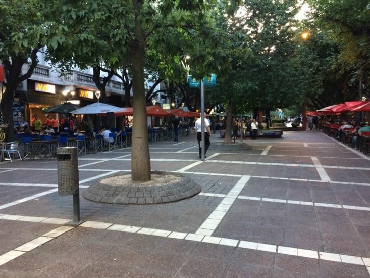 Rue piétonne à Mendoza une ville où il fait bon vivre