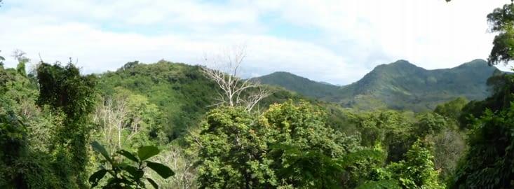 vue panoramique sur la campagne à 50m de hauteur au sommet de la cascade
