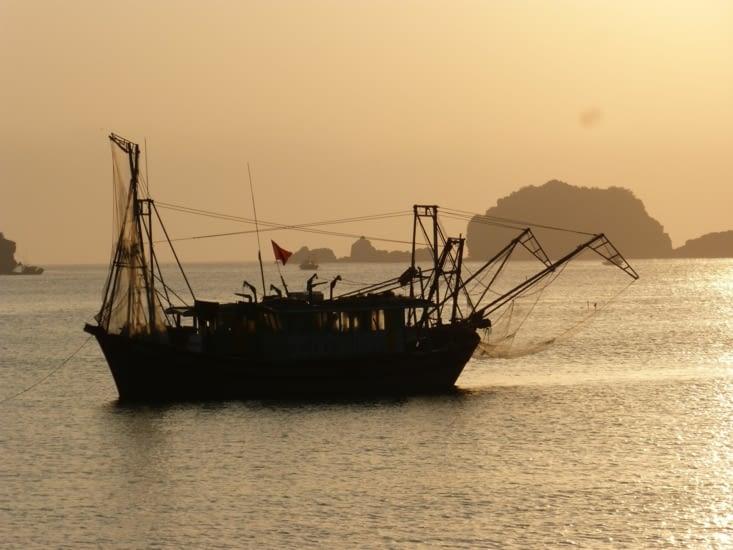 bateau de pêche peut être pour l crevette au vu des filets?