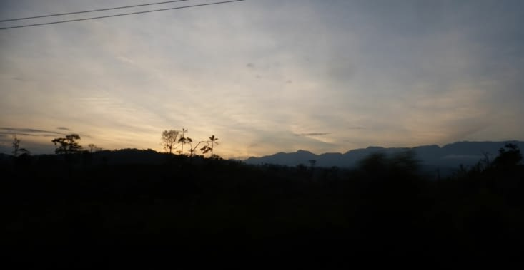 nous quittons la forêt au coucher du soleil