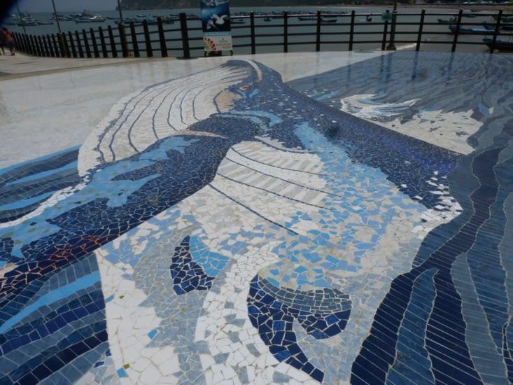 la baleine ,l'emblème de Puerto Lopez. Elles viennent pour la reproduction