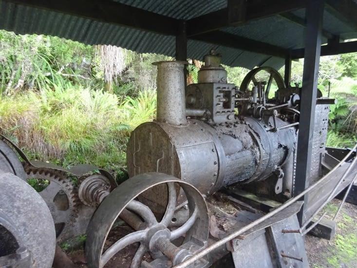 Vieille machine pour l'exploitation forestière