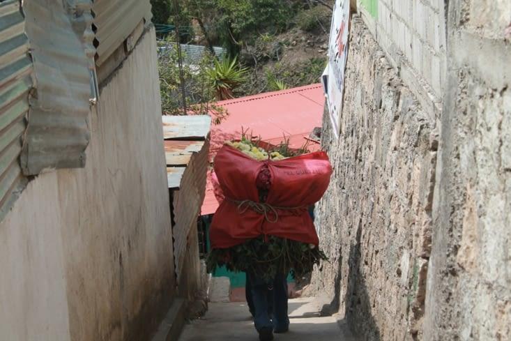Transport à dos d homme , pas le choix pour les escaliers