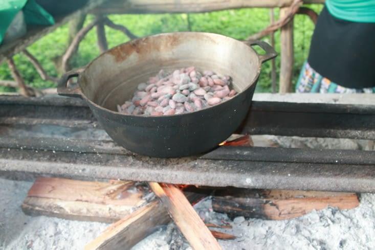 Les fèves de cacao à cuire à feu doux