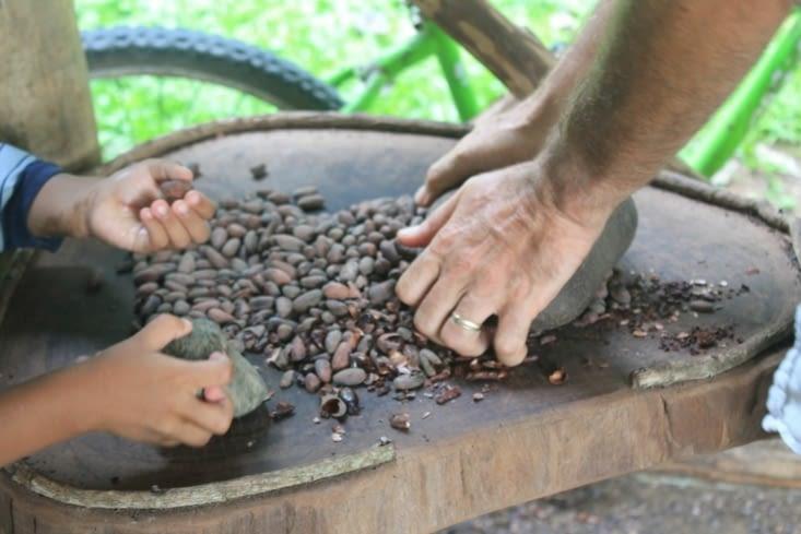 On écrase les graines  au pilon, ici une pierre fera le pilon
