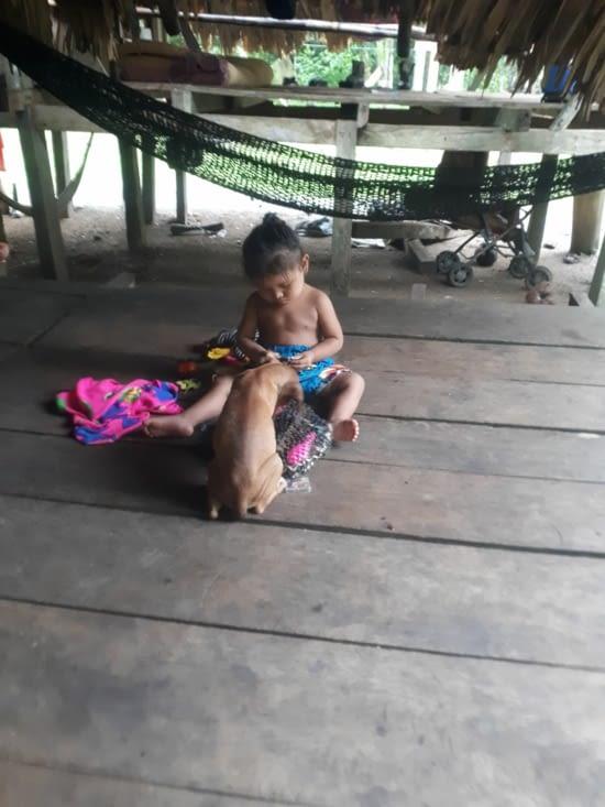 La petite joue et le chiot( plein de puces) viens jouer avec elle