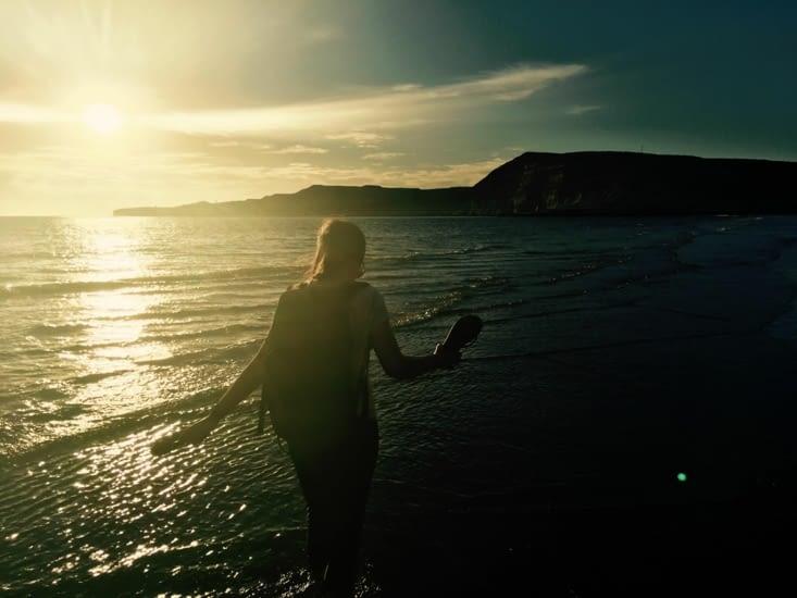 Coucher de soleil sur la plage de Puerto Piramidès