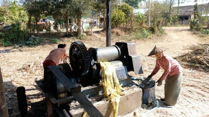 La machine qui broie la canne à sucre pour en extraire le jus
