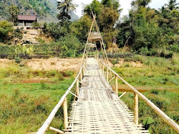Pont suspendu au-dessus du jardin.