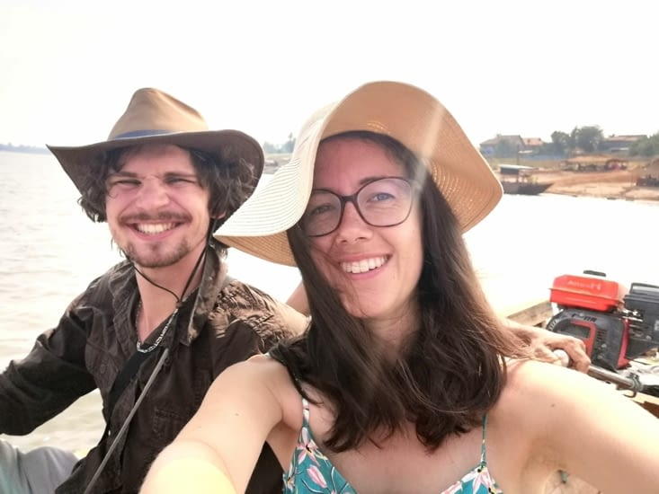 Traversée du Mekong en barque.
