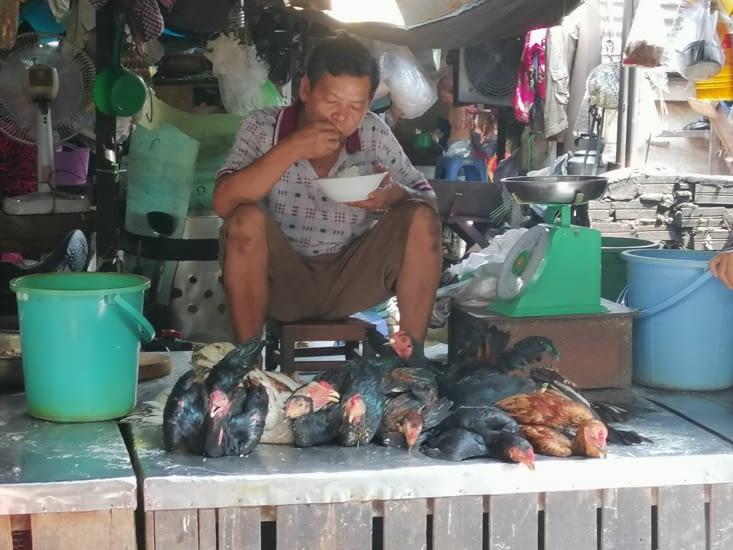 Poules fraîches du marché.