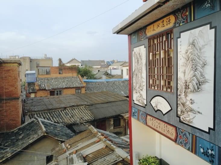 La vue depuis notre hôtel, Han Shu Xiang Huan Hostel