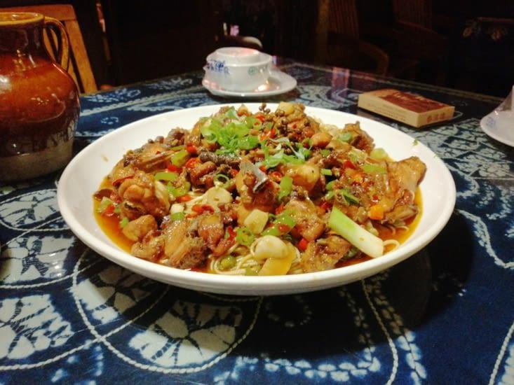 Nouilles au poulet : relevé mais délicieux