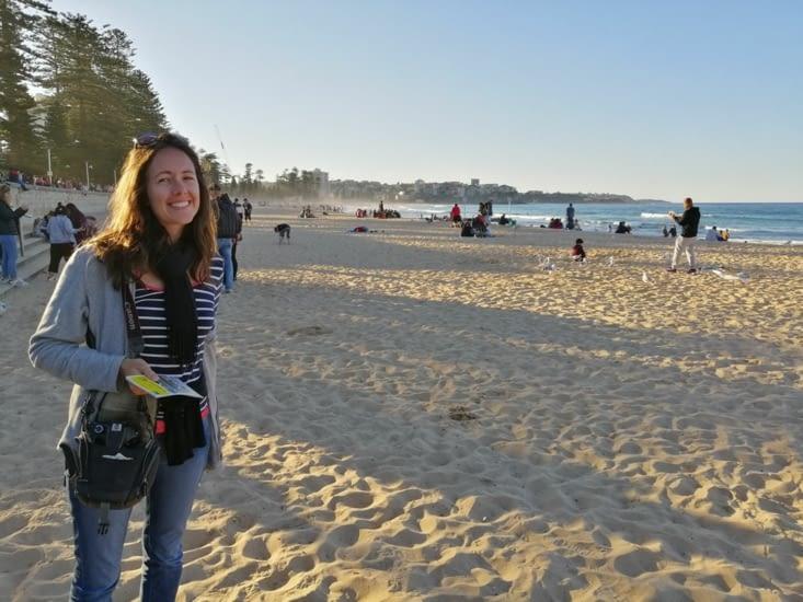 Sur la plage de Manly, en fin de journée.
