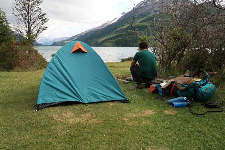 Emplacement de la tente optimisé pour avoir une belle vue