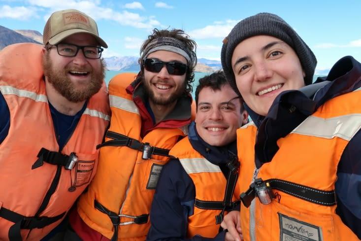 Notre petit groupe sur le bateau