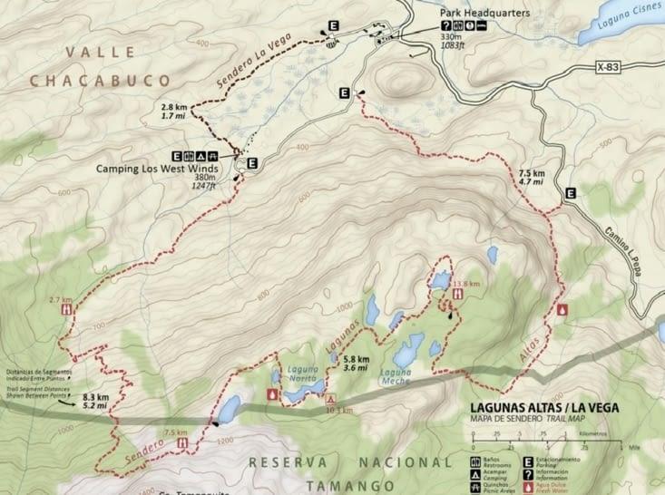 Plan du Circuito Lagunas Altas