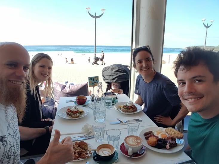 Déjeuner à Maroubra avec David, Frey et Jacob
