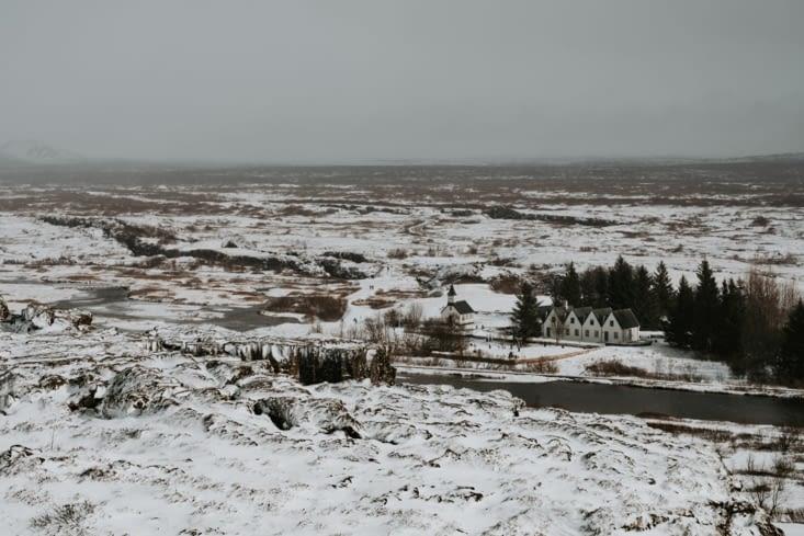 Þingvallakirkja. Vue du centre d'information Þingvellir National Park