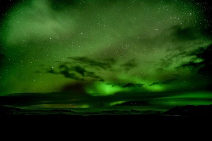 Ma première aurore boréale Islandaise