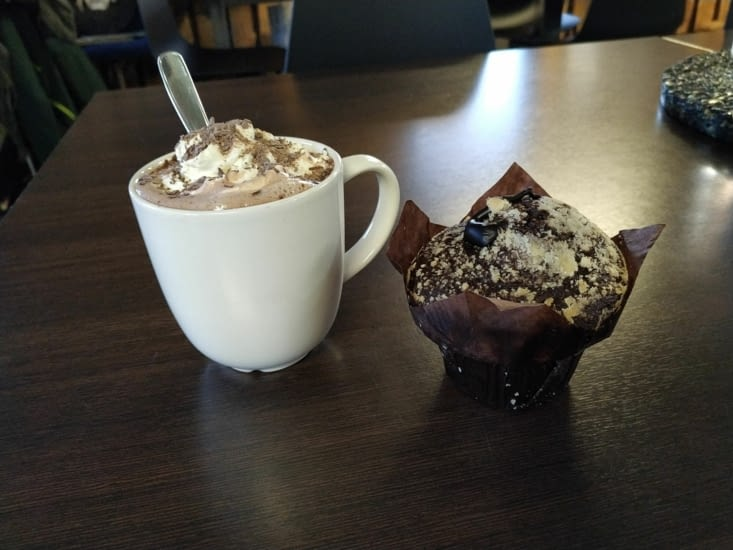 Chocolat chaud et muffin
