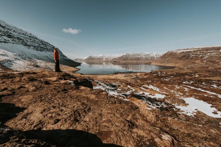 La vue depuis la cascade Fjallfoss