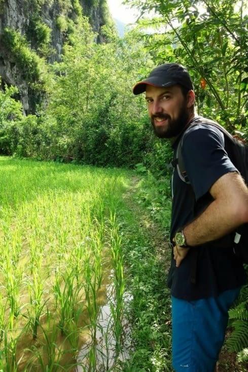 La traversée des rizières/Crossing of the rice fields