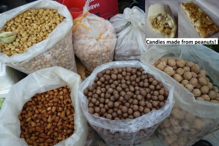 Amande et noix de macadamia (au centre) / Almonds and macadamia nuts (in the middle)