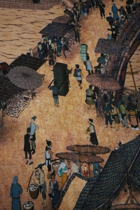 """""""Along the river during the Qing Ming Festival"""" fresque"""