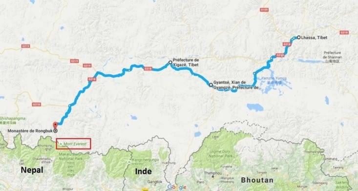 Détail de notre parcours au Tibet / Detailled map of our trip in Tibet
