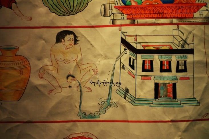 Thangka sur la médecine. Qu'est-ce-que ce croquis représente selon vous? / Thangka on medicine. What does this sketch mean according to you?