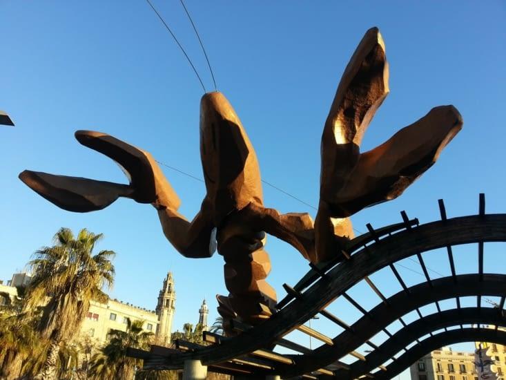 Un homard domine l'espace piétonnier bordé de palmiers, le dépaysement est total !