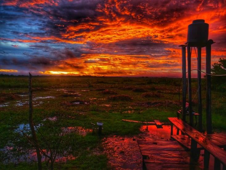 Couché de soleil sur la Pampa