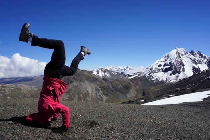 Tentative de poirier version yoga boudi
